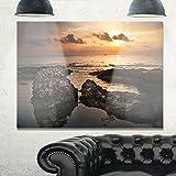 Design Art MT11036-40-30 Dark Africa Beach with Ancient Ruins Oversized Beach Metal Wall Art,Brown/Orange,40x30