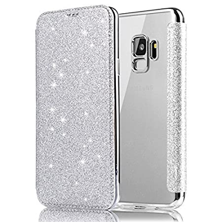 Cover Galaxy S9 plus Glitter,Custodia Samsung Galaxy S9 plus Flip Brillanti, Ysimee Cover Custodia Placcatura in Cristallo Glitterato Lucido TPU Interno Case con Sottile Slim Fit e [PU Leather] Porta carte di credito Custodia Cover Flip Portafoglio Custodi