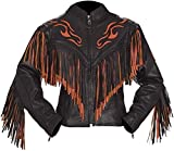 Classyak Women's Western Fringed Top Quality Genuine Leather Moto Jacket Cow Black X-Small