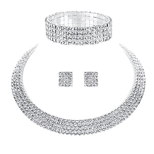 mecresh Crystal Rhinestone Choker Necklace Earrings Bracelet Bridal Wedding Jewelry Set for Women