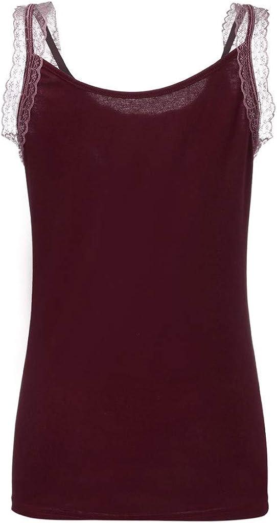 Womens Rhinestone Embellish Lace Insert Short Tank Tops Fashion T-Shirt Blouse Camisole