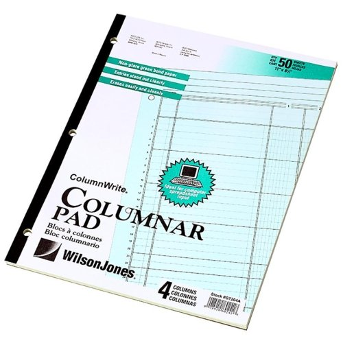 Wholesale CASE of 25 - Acco/Wilson Jones Side-Bound Punched Columnar Pads-Columnar Pad, 4 Columns, 50 Sheets, 11''x8-1/2'', Green by WLJ (Image #1)