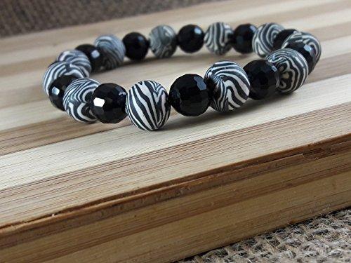 Zebra and Onyx Bracelet
