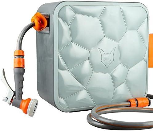 Fuxtec Wasserschlauch Aufroller FX-CU20 mit 20 m und 1/2 Zoll Anschluss automatischer Schlauchaufroller Schlauchtrommel Wasserschlauchtrommel für Wand Montage Cube getestet in der Oberklasse Note 1,3
