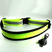NovoSports(TM) USB Rechargeable LED ReflectiveIlluminating Safety Waist Belt 360 Degree High Visibility Safety Gear for Running, Jogging, Hiking & Cycling, Fully Adjustable, Comfortable and Lightweight Fits Women , Men & Kids (Green)