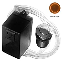 Westbrass Single Outlet Garbage Disposal Air Switch Button Fits Insinkerator, Waste King, Antique Copper