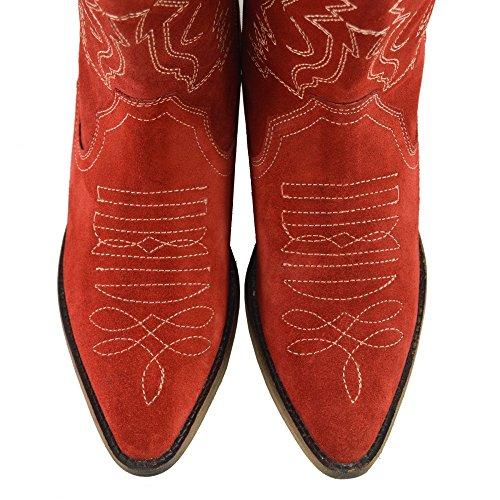 Damer Vestlige Læder Cowboy Støvler Spidse Tå Damer Brede Kalv Støvler Rød 3ULTdIG7lW