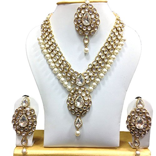 Exclusive Jewellery Indian Party Wedding Wear Gold Plated Pearl White Kundan Bollywood Bridal Women Necklace Set - Exclusive Jewelry
