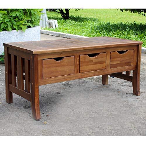 International Caravan Traditional Modern Design Acacia Hardwood 3-drawer Storage Bench