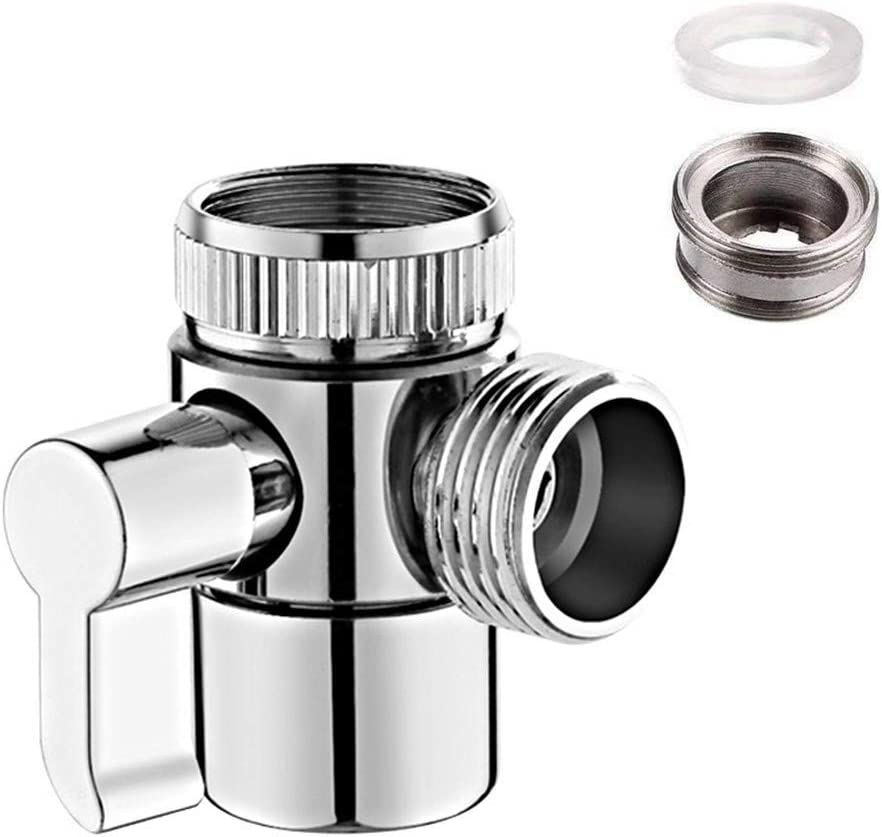 Brass Faucet Diverter Valve with Aerator for Kitchen or Bathroom Sink Faucet Replacement Part Faucet, Hose Adapter M22 X M24, Polished Chrome