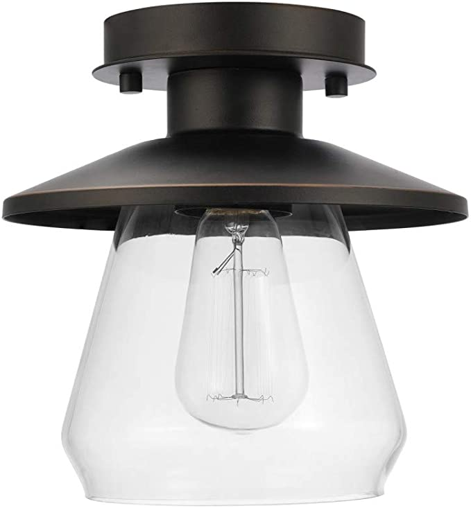 Globe Electric 64846 Nate 1 Light Semi Flush Mount Ceiling Light Oil Rubbed Bronze Clear Glass Shade Amazon Ca Tools Home Improvement