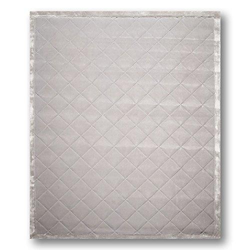 8'x10' Auro Tone on Tone, Steel Grey Calvin Klien Diamond Pattern Modern Handmade Wool & Silk Oriental Area ()