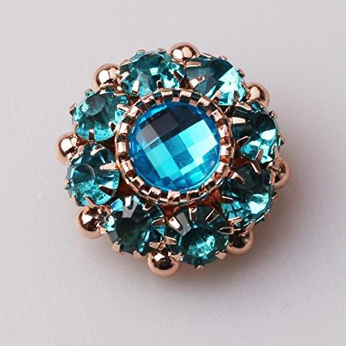 Large Blue Rhinestone - XINXI 10pcs Sea Blue Rhinestone Acrylic Flower Embellishments Button Back Buckle 25mm