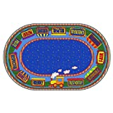 Flagship Carpets FE285-33A The Good Friend Train Rug, Find a Good Friend or to Be One, Children's Classroom Educational Carpet, 6' x 8'4'', 72'' Length, 100'' Width, Blue/Multi-Color