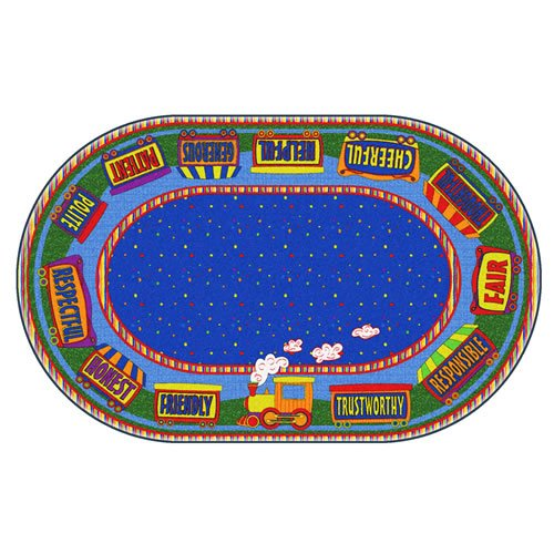 Flagship Carpets FE285-33A The Good Friend Train Rug, Find a Good Friend or to Be One, Children's Classroom Educational Carpet, 6' x 8'4'', 72'' Length, 100'' Width, Blue/Multi-Color by Flagship Carpets