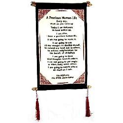 "Dalai Lama Quotes ~ Cotton Canvas Scroll ~ ""A Precious Human Life"" ~ Natural White Color"