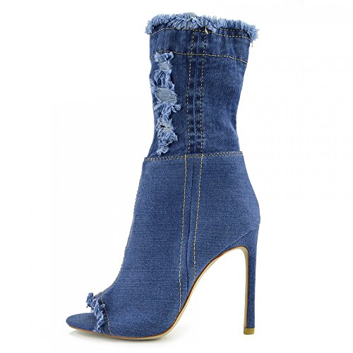 NF446 Stiletch Stiletch Tacón Para de Altas Kick Botas Footwear Mujer High Denim Aguja de Middle Toe q0wvZ