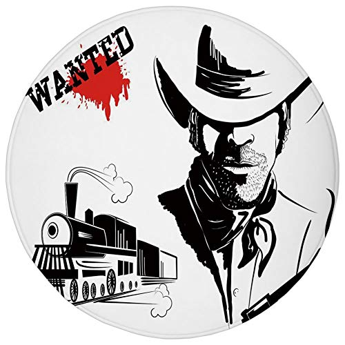 Round Rug Mat Carpet,Western,Cowboy Silhouette Portrait Wanted Poster Locomotive Bandit Bloody Robbery Decorative,Black White Red,Flannel Microfiber Non-Slip Soft Absorbent,for Kitchen Floor Bathroom -
