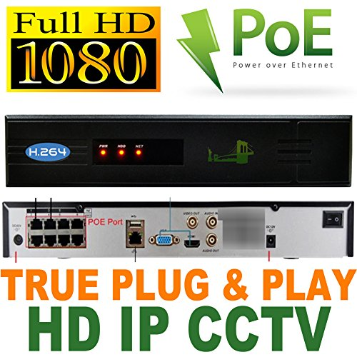 USG Business Grade Premium 8 Camera 1080P HD IP CCTV Kit With Built-in PoE Ports: 1x 8 Channel NVR + 8x 1080P 3.6mm PoE IP Bullet Cameras + 1x 3TB HDD *** High Definition CCTV Video Surveillance