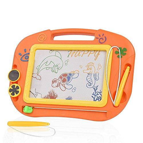 TTMOW Pizarras Mágicas Colorido con Pluma, Almohadilla Borrable de Escritura y Dibujo, Juguetes Educativos para 3 niños 4 años 5 años 6 años (Naranja)