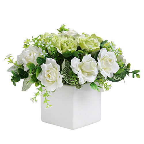 MyGift Decorative Artificial Ivory Rose Floral Arrangement in Square White Ceramic Vase -