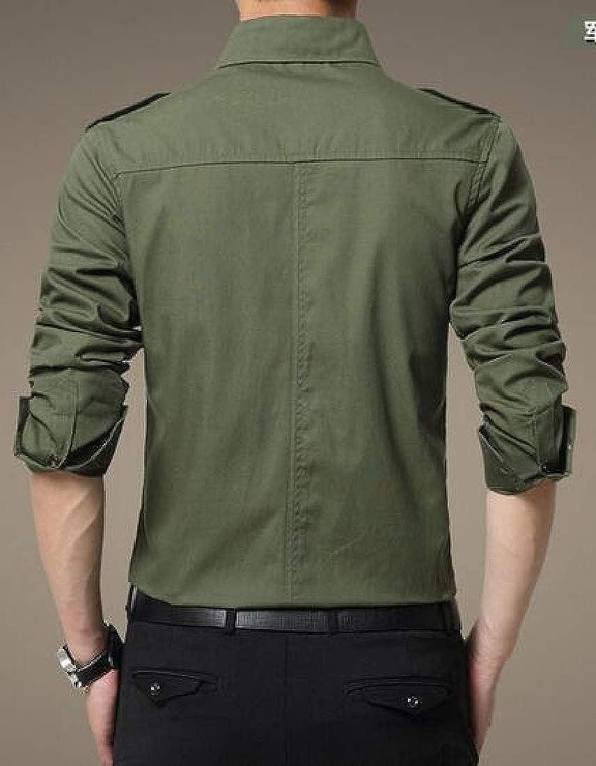 MOUTEN Men Solid Color Cotton Long Sleeve Slim Fit Casual Business Button Up Cargo Shirt