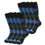 Argyle Dress Socks, SUTTOS Mens Women's Long Tube Blue Crew Dressy Socks,Casual Socks Art Pattern Comfortable Fun Blue Grey Black Argyle Dress Socks School Uniform Socks Wedding Groomsmen Socks,8-Pack