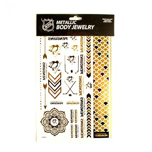 Pittsburgh Metallic Body Jewelry Temporary Foil Tattoos, 2 (Pittsburgh Pirates Tattoo)
