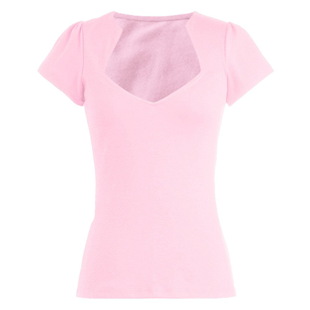 Candow Look Womens 50s Pinup Design Sexy Pink Tops Sweetheart Short Sleeves Vintage Style X-Large by Candow Look