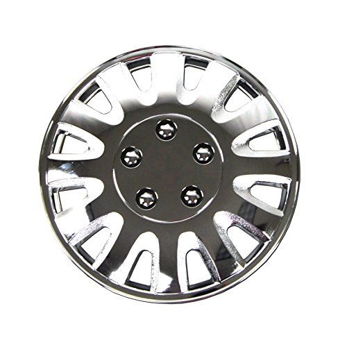 TuningPros WC-15-9738-C 15-Inches-Chrome Improved Hubcaps Wheel Skin Cover Set of 4