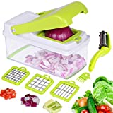 Onion Chopper, Veggie Salad Chopper, Vegetable Chopper Dicer Includes 3 Dicing Blades Extra Peeler , Artbest Multi Functional Adjustable Vegetable Fruit Chopper Dicer, No More Tears