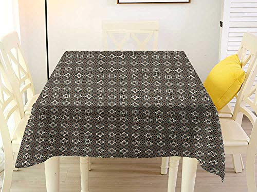 L'sWOW Square Tablecloth Gingham Geometric Stars and Squares Pattern Abstract Shapes Illustration Polka Dotted Background Multicolor Western 50 x 50 -