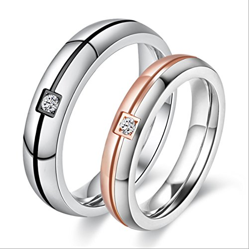 Red Ring Of Death Costume (Daesar Stainless Steel Lovers Ring For Couples Engraved Line Single Cubic Zirconia Engagement Ring 1 Pair)