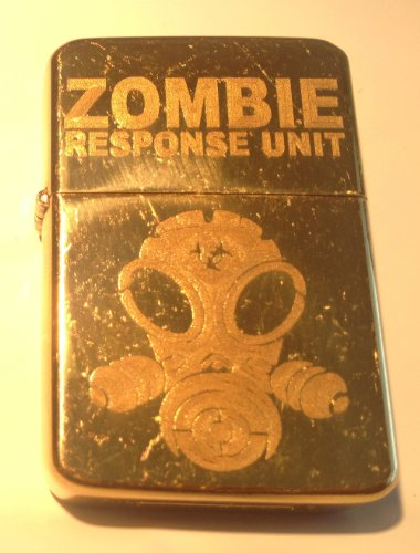 Vector KGM Thunderbird Custom Lighter - Zombie Response Team Unit Alien Face Gas Mask Biohazard Engraved Logo Vintage Brass Gold Chrome Rare! (Vector Gas Mask)