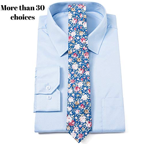 Elzama Cotton Skinny Floral Print Tie for Special Event, Party, Wedding
