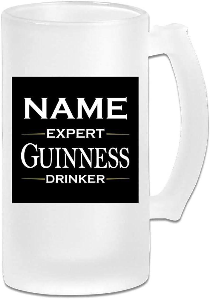 Taza de jarra de cerveza de vidrio esmerilado de 16 onzas impresa - Bebedero experto Guinness personalizado - Taza gráfica