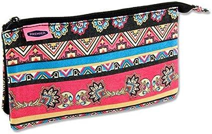 3 Compartimiento de bolsillo – Estuche plano con cremallera (niña), color rosa y azul diseño étnico: Amazon.es: Oficina y papelería
