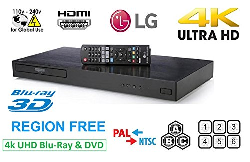 LG 4K Ultra HD Region Free Blu-ray Player DVD Player UP870,