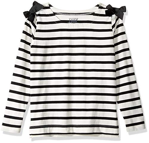 LOOK by Crewcuts Girls' 3/4 Sleeve Bow Shoulder top, Black/White Stripe, Small (6/7)