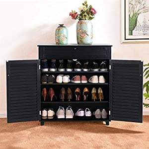 Yaheetech Shoe Storage Cabinet with Drawer and Adjustable Shelf - Bathroom Storage Floor Cabinet Free Standing Cabinet for Entryway Black
