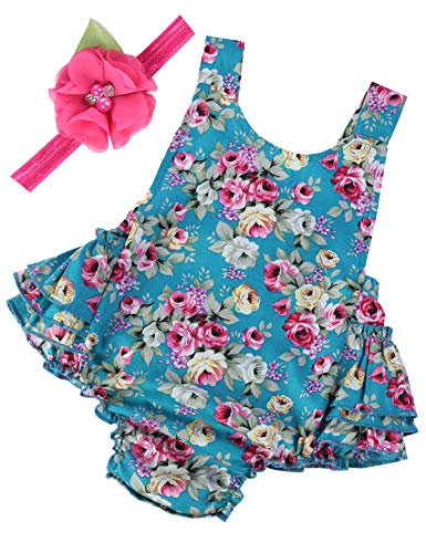 PrinceSasa Baby Girl Clothes Blue Cloth Floral Ruffles Summer Cake Smash Outfits and Headband for Newborn Gifts,A29,7-12 Months(Size M) -