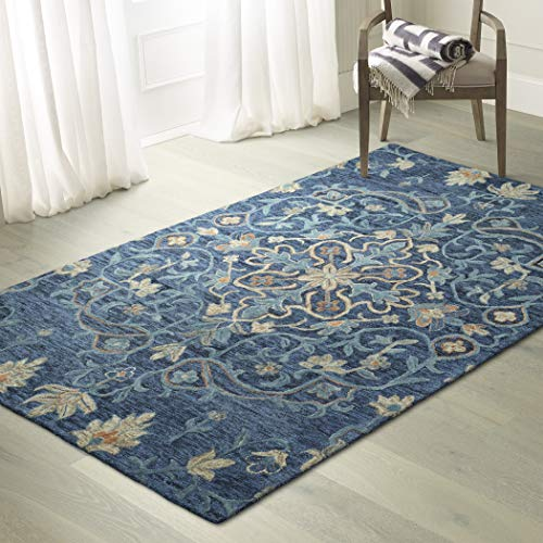 Kaleen AGO06-10-23 2' x 3' Wool Area Rug in Denim, Hand-Tufted Rachael Ray Agora Collection, 2'x3',
