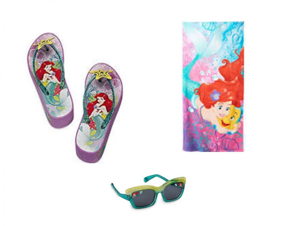 Disney Girl's Little Mermaid Ariel Flip Flop Sandals, Sunglasses PLUS Beach Towel (11/12)