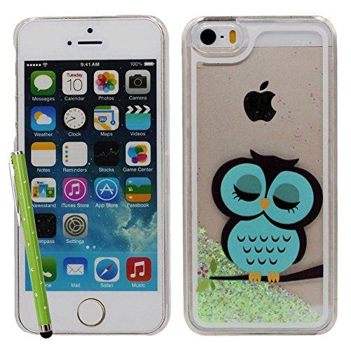 IPhone SE Coque, Charmant Chouette Motif Flowable Eau Étoiles Vert Conception Dur Clair Plastique Transparent Housse de Protection Case pour Apple iPhone 5 5S SE avec 1 stylet