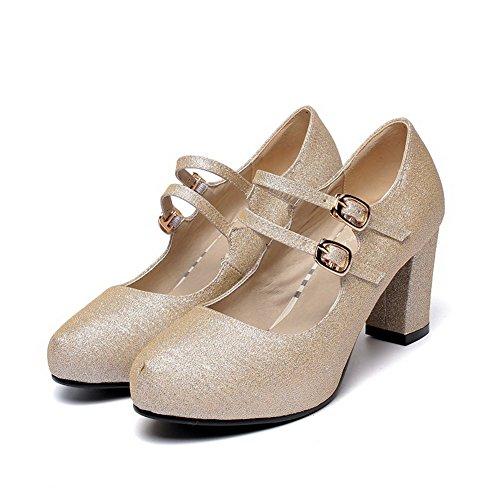Amoonyfashion Femme Bout Fermé Bout Fermé Talons Hauts Pompe À Boucle Solide Chaussures-abricot
