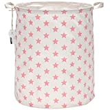 Sea Team 19.7'' Large Sized Waterproof Coating Ramie Cotton Fabric Folding Laundry Hamper Bucket Cylindric Burlap Canvas Storage Basket with Stylish Pink & White Star Design