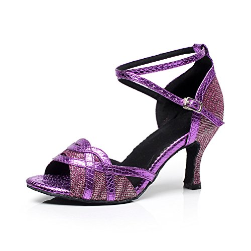 Cxs Ladies Open Toe Wedding Party Tacchi Scarpe Da Ballo Per Salsa Tango E Pratica, 2,75 Tacco Viola