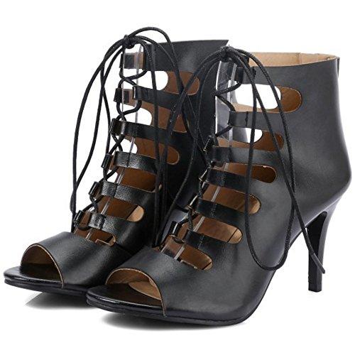 COOLCEPT Mujer Moda Peep Toe Tacon Alto Sandalias Stylish Ankle-wrap Gladiator Tacon De Aguja Zapatos Negro
