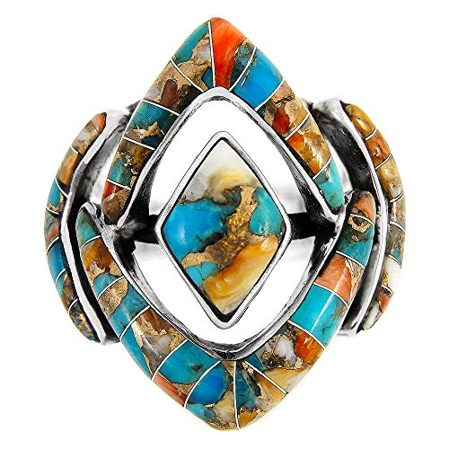 Spiny Oyster Turquoise Ring Sterling Silver (Pick Style) (Modern Geometry, - Ring Oyster