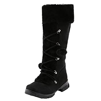 f091f46af5d8 Knee High Boots Women s Suede Hairball Ankle Riding Boots Ladies Low Flat